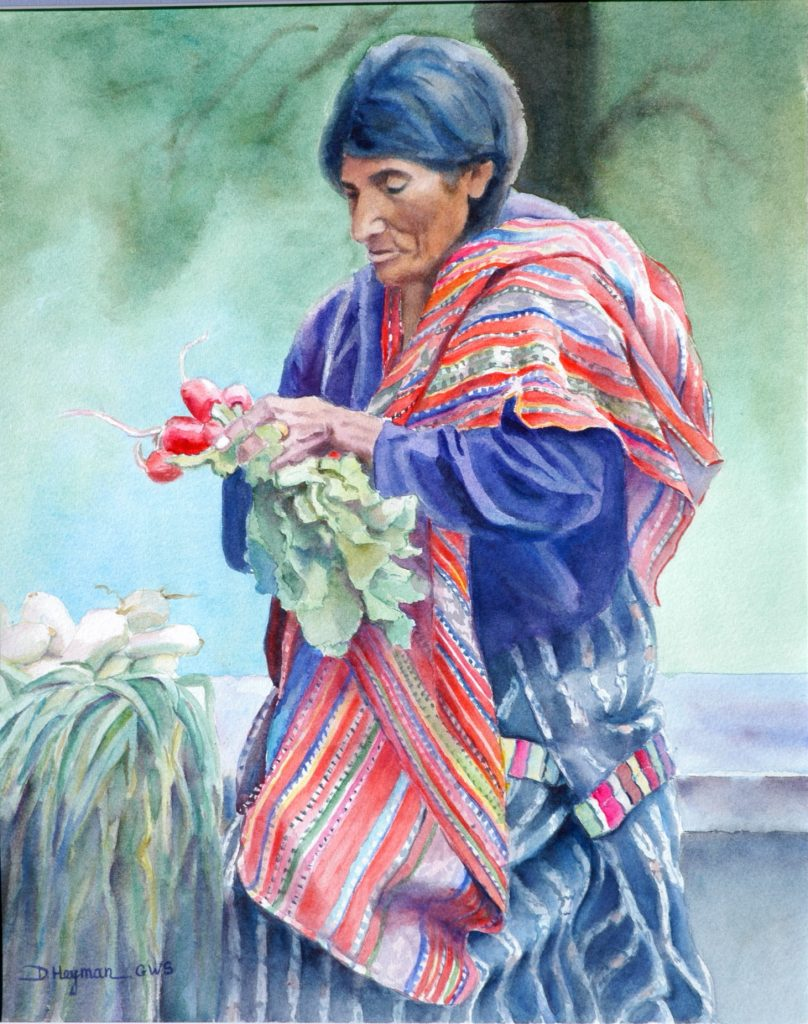 Guatemalan woman with Radishes - watercolor