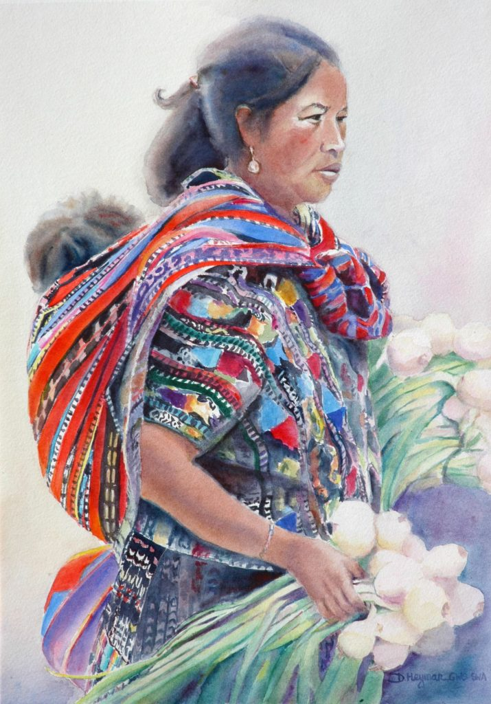 Guatemalan Woman with Onions - watercolor