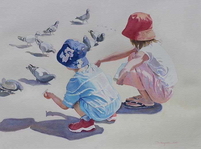 Feeding the Pigeons - watercoor